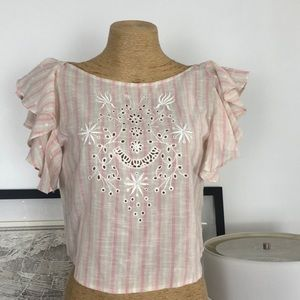 New loveshackfancy embroidered top Size XS